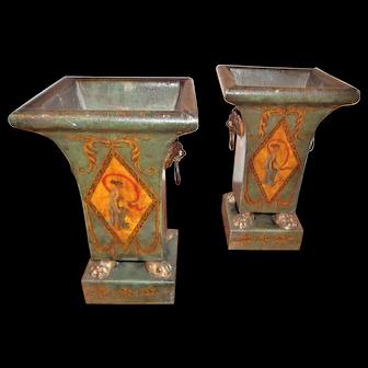 Pair Italian Directoire Style Antique Tole Cache Pots