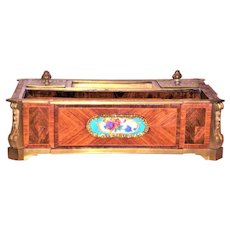 Louis XVI Style Tulipwood Inkwell or Encrier with Sevres Style Plaques