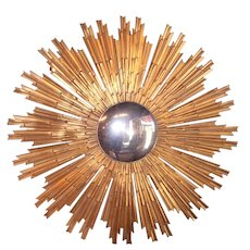 Large Gilt Bronze Louis XIV Style Sunburst with Convex Mirror