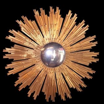 Large Louis XIV Style Gilt Bronze Sunburst with Convex Mirror