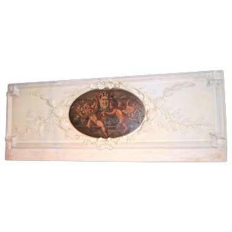 Louis XVI Style Carved and Painted Boiserie Overdoor Frieze Panel with Cherubs Oil Inset