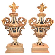 Tall Carved Antique Pair of Painted and Giltwood Italian Urns