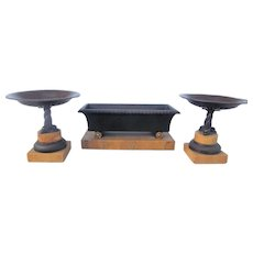 Three Piece Set of Grand Tour Empire Bronze Tazza and a Coffer on Sienna Marble Bases