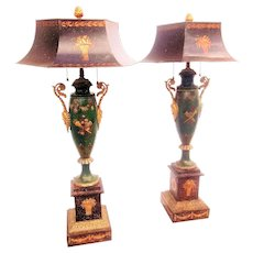 Antique Pair of Painted Louis XVI Style Tole Parfums Later Mounted as Lamps