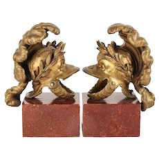 Antique Pair Neoclassical Grand Tours of Gilt Bronze Helmets Now Mounted as Garnitures