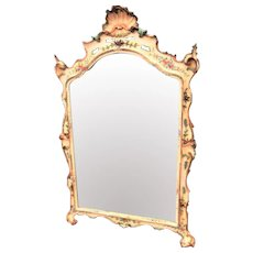 Large Painted Venetian or Italian Mirror with Floral Sprays Carved in High Relief