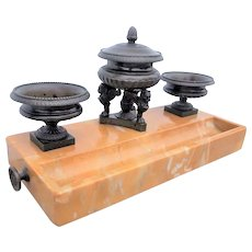 Large Neoclassical Style Bronze and Sienna Marble Inkwell Desk Set