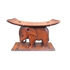 Antique Walnut Pillow Stand and Stool Carved in Elephant Form