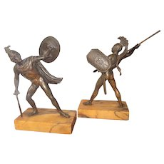 Grand Tour Set of Neoclassical Bronze Souvenirs of Warriors or Gladiators
