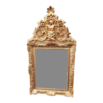 Regence To Louis XV Style Giltwood Mirror with Roman Trophy