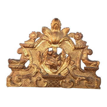 Hand Carved Regence Style Giltwood Crest Fragment, 19th Century
