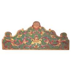 Rococo Crested Chinoiserie Painted and Giltwood Overdoor Panel Fragment