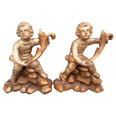 Tall Pair of Baroque Style Carved Cherub or Putti Giltwood Fragments