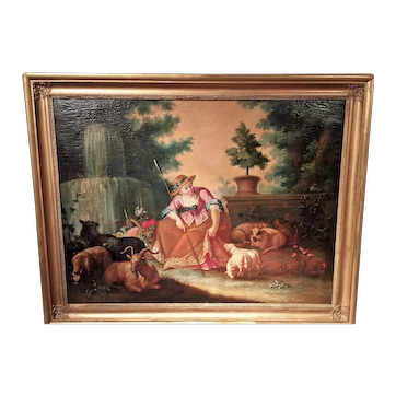 Large Rococo Pastoral Scene In Manner of Boucher