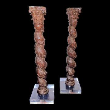 Pair of Italian Architectural Carved Solomonic Corinthian Columns