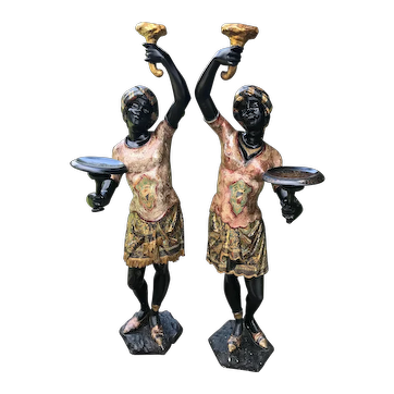 Pair of Venetian Blackamoors with Rare Rose Tint Silver Leaf Tunics