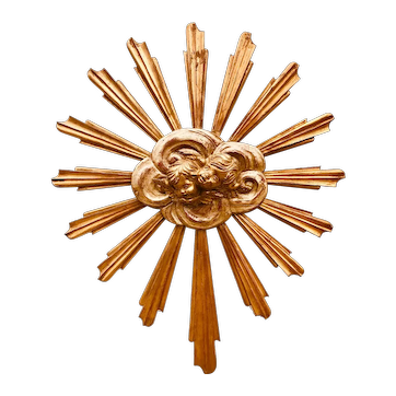 Carved Giltwood Sunburst with Cherubs or Angels in Clouds and Ascension