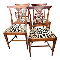 Set of Four Italian Neoclassical Chairs in Leopard Print Velvet