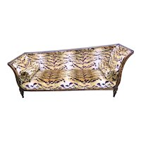 Italian Neoclassical Paint and Giltwood Recamier Settee in Scalamandre Tiger Velvet