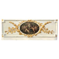 Carved and Painted Giltwood Boiserie  Overdoor Panel