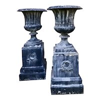 Pair of Tall Classical Styled Fluted Metal Garden Urns on Stands