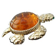 Large 1990's Sea Turtle Brooch Faux Amber Shell