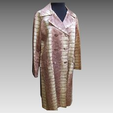 1970's Sleek Satin Python Print Coat.