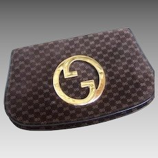 Gucci Brown Suede Logo Blondie Clutch Bag. 1970's.