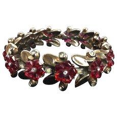 Trifari Fruit Salad Ruby Red Carved Bracelet.  1949.