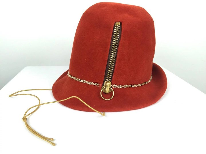 bda7045900b Yves Saint Laurent Museum Quality Zippered Felt Hat. Mod. 1960's ...