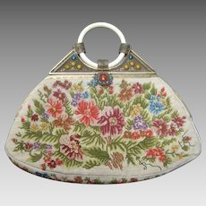 1920's Petit Point Jeweled Floral Evening Bag.  Art Deco.
