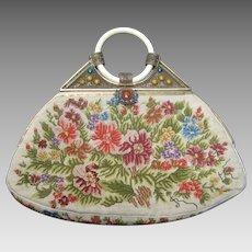 1920's Petit Point Jeweled Floral Evening Bag.  Art Deco.