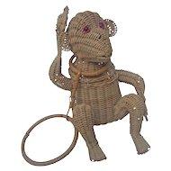 Amazing Wicker Monkey Handbag. 1960's.