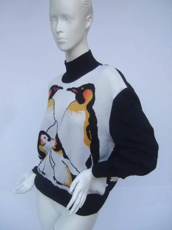 St. John Charming Penguin Wool Knit Sweater. 1990's ... - photo#12