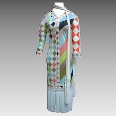 Pucci Flapper Style Fringed Dress and Scarf/Belt. 1960's.