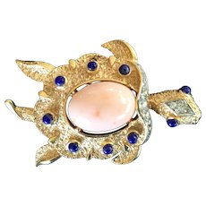 Trifari Turtle Pin with Faux Coral and Lapis Cabochons. 1960's.