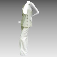 Amazing Space Age Courreges Couture Trouser Suit. 1960's.