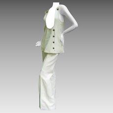 Amazing Space Age Courreges Couture Trouser Suit. 1960's.