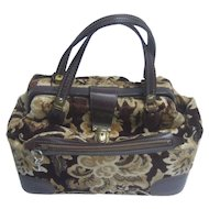 Stylish Brocade Leather Trim Travel Bag or Train Case. 1970's.