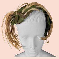 Schiaparelli Forest Leaf and feather Hat. 1950's.
