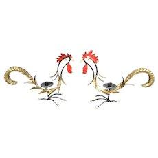 Whimsical Hollywood Regency Enamel Rooster Candle Holders. Italian.