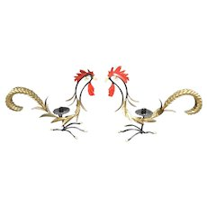 Whimsical Hollywood Regency Enamel Rooster Candle Holders. Italian.