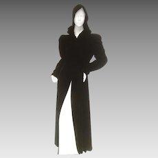 Dramatic Silk Velvet Hooded Opera Coat. 1950's.