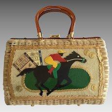 Racing Themed Wicker Handbag. 1960's.
