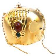 Charming Gilt Metal Jeweled Elephant Evening Bag.