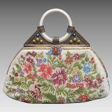 Exquisite Petit Point Jeweled Floral Evening Bag. 1920's.