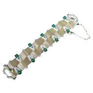 Boucher Emerald Glass Cabochon Mesh Bracelet. 1950's.