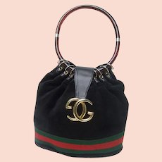 Gucci Luxurious Black Suede Lucite Handle Handbag. 1970's.