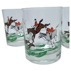 Neiman Marcus Set of Four Equestrian Drinking Glasses. 1980's.