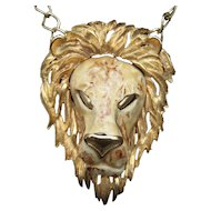 Huge Gilt Metal Lion Pendant. 1970's